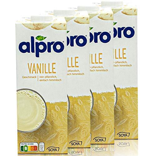 Alpro - 4er Pack Sojadrink Vanille 1 Liter - Soja...