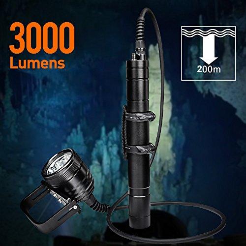 Odepro WD70 Taucherleuchten 3000 Lumen Taucher...