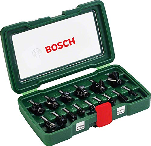 Bosch 15tlg. Hartmetall Fräser Set (für Holz,...