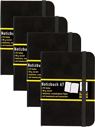 4 Stück Idena 209283 - Notizbuch DIN A7, 192...