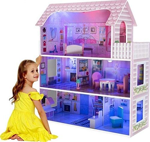 LED Puppenhaus aus Holz, Große Spielset mit...