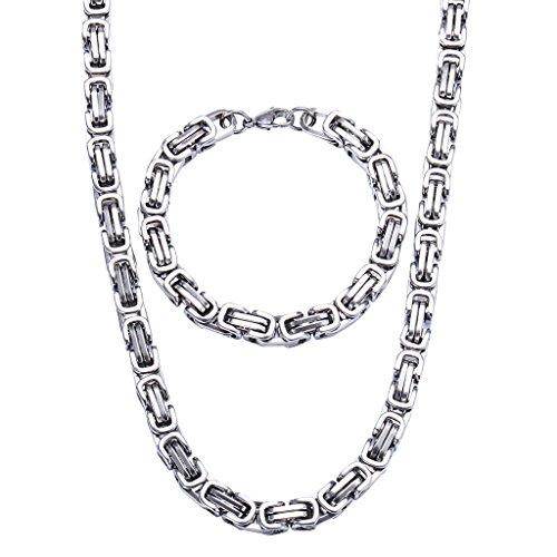 Jewow Edelstahl 8mm Breite Halskette und Armkette...