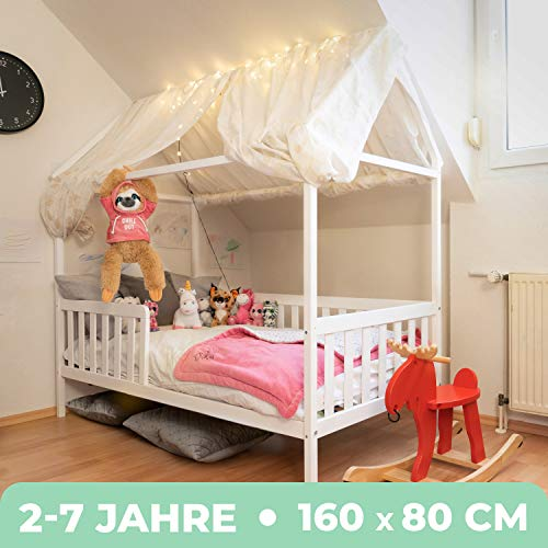 Alcube Hausbett 160x80 cm - stabiles Kinderbett...