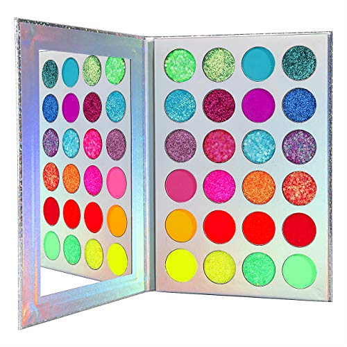 Bunt Neon Lidschatten Palette Glitzer,Afflano UV...