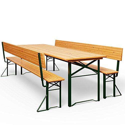 Bierzeltgarnitur mit Rückenlehne & breiter Tisch...