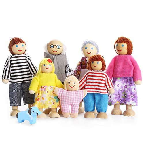 Playtee 7-köpfige Puppenfamilien Puppenhaus für...