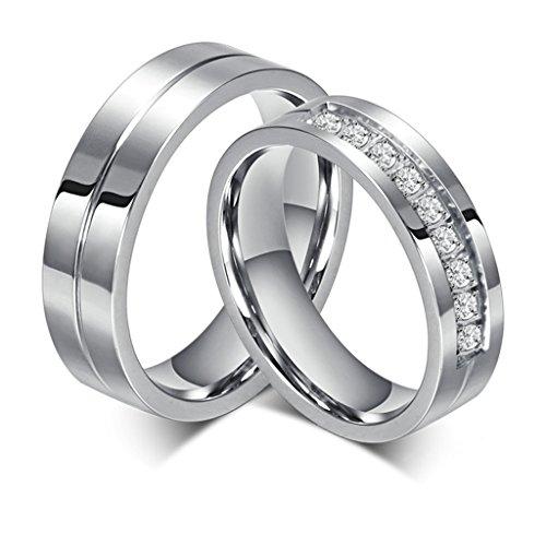 Bishilin Edelstahl 6MM Verlobungsringe Für Paars...