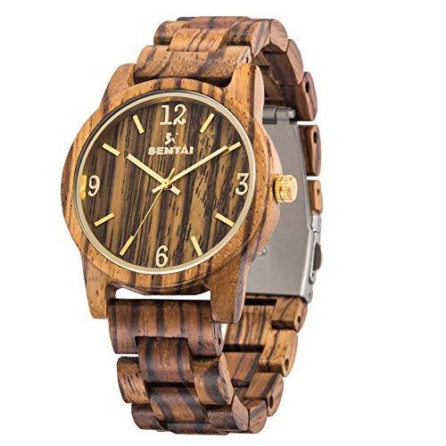 Sentai Herren Uhren Holzuhr Holz-Armbanduhr...