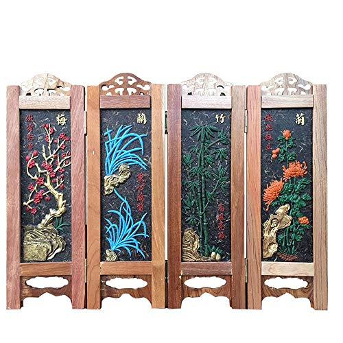 Kleine Folding Screen, Farbe Tee Skulptur aus Holz...