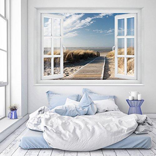 murimage Fototapete Strand Fenster 183 x 127 cm...