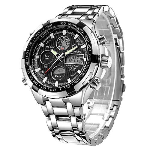 Luxuriöse, Digitale Analog-Uhr aus Vollstahl für...