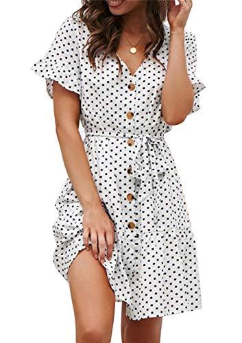 Sommerkleid Damen Kurzarm Elegant V-Ausschnitt...