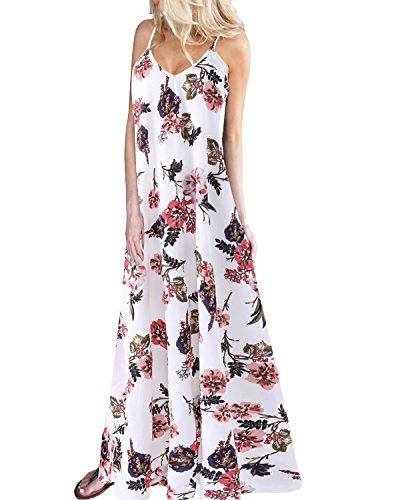 Kidsform Damen Sommerkleider Blumen Maxi Kleid...