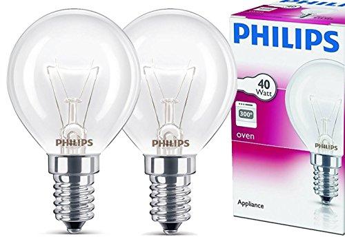 2x Philips Backofenlampe E14 40W Tropfenform 45mm...