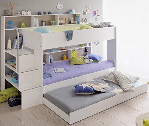 90x200 Kinder Etagenbett Weiß/grau mit Bettkasten...
