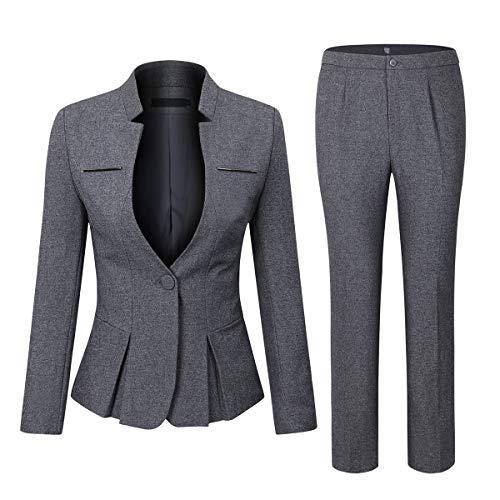 YYNUDA Anzug Set Damen Blazer mit Rock/Hose Slim...