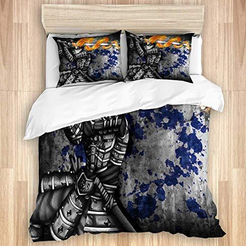 3-teiliges Bettbezug-Set, Samurai Warrior und mit...