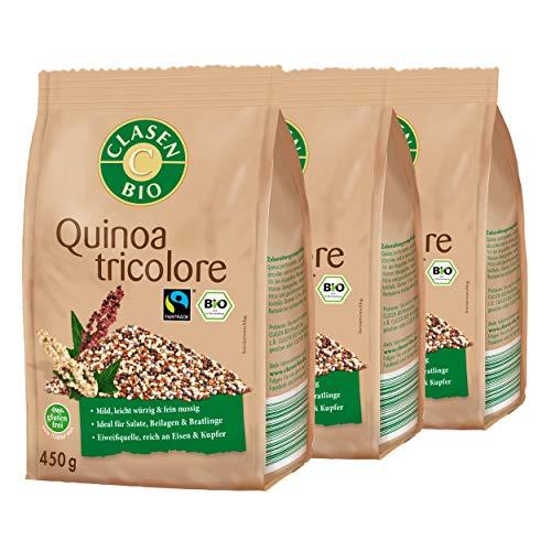 3x CLASEN BIO Quinoa Tricolore - Fairtrade, vegan...