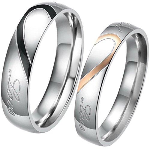 JewelryWe Schmuck 1 Paar Edelstahl Love Herz...