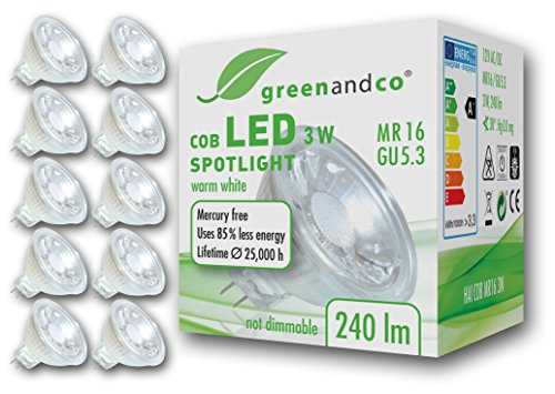 10x greenandco LED Spot ersetzt 25 Watt MR16 GU5.3...