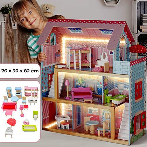 Puppenhaus aus Holz mit LED licht - 3 Spielebenen,...