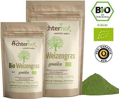 Weizengraspulver BIO (500g) Weizengras Pulver aus...