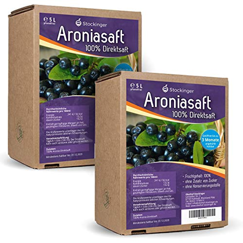 2 x 5L Obsthof Stockinger Aronia Muttersaft Bag in...