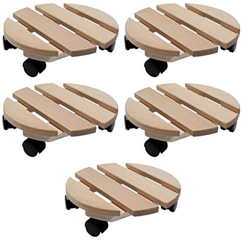 Pflanzenroller Holz MASSIV rund 30 cm bis 120 KG...
