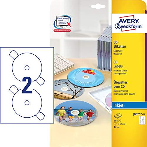 AVERY Zweckform J8676-25 CD-Etiketten (A4, 50...