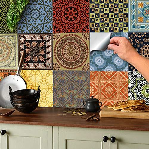 Tile Style Decals 24 stück Fliesenaufkleber für...