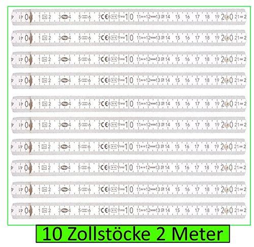 10 Stck Zollstock 2m, 10 Glieder, weiss,...