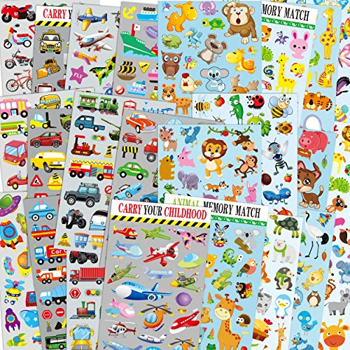 Autos & Tiere Sticker-Packs für Kinder, 24 Bögen...