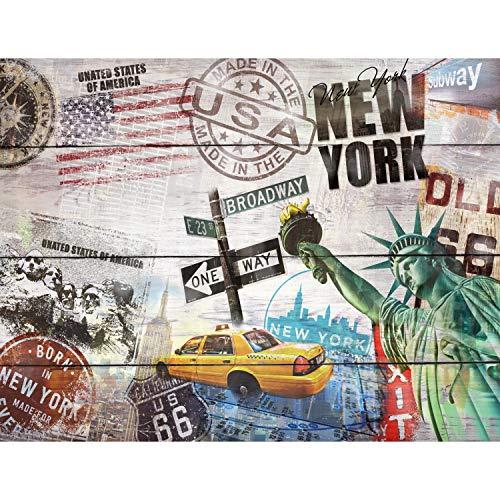 Tapeten Fototapeten Holzoptik New York - Vlies...