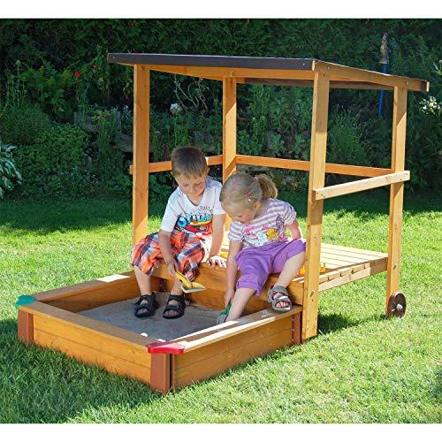 Gaspo Sandkasten mit Spielhaus und Sonnendach,...