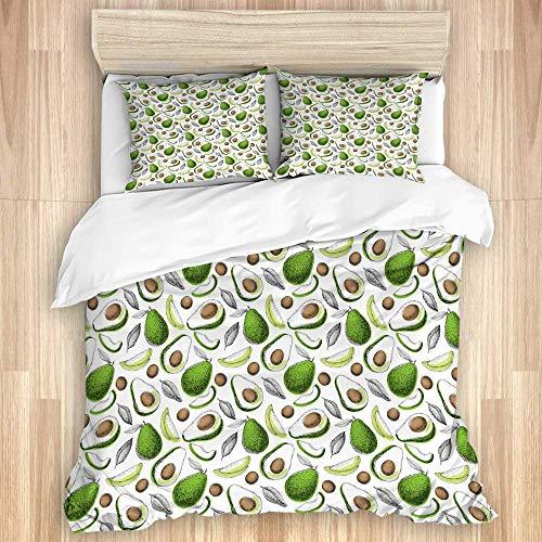 3 Stück Bettdecker Set, handgezeichnete Avocado...